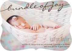 Sparkling Bundle - Girl Photo Birth Announcements - Coloring Cricket - Bubblegum - Pink : Front