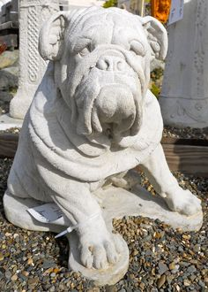 Large Antique Bronze Bulldog Statue Modern Garden Dog ...