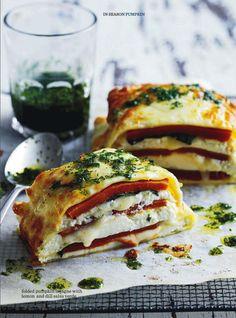 folded pumpkin lasagna with lemon & dill salsa verde.  donna hay magazine