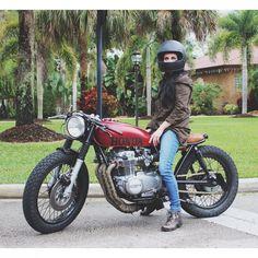 Danielle Vee riding here Honda CB550 Cafe Racer