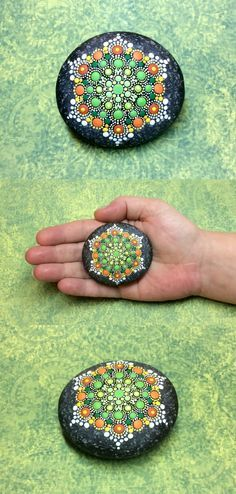 "Mandala Stone (Junior) by Kimberly Vallee: Hand painted with acrylic and protected with a matt finish, this ""junior"" stone is a touch smaller than my usual stones, at about 2.5"" diameter. It is one-of-a-kind."