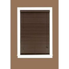 madera falsa mahogany 2 in faux wood plantation blind 35 in w x 64 in l actual size 34 5 in w 64 in l