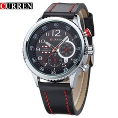 Fashion Casual Leather Quartz Watch Men Male Sport Famous Brand Wristwatch