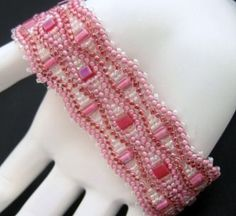 Pink Cube and Seed Bead Beadwoven Bracelet Cuff   1BeadAtATime - Jewelry on ArtFire