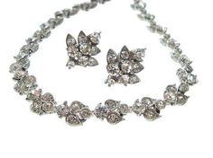Bogoff Vintage Rhinestone Necklace and Earrings Demi, Bogoff Jewelry