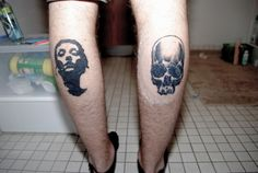 My boyfriend's calf tattoos done by John Even at Hold It Down in Richmond, VA: Converge's Jane Doe art (left) and my own skull drawing (right.)