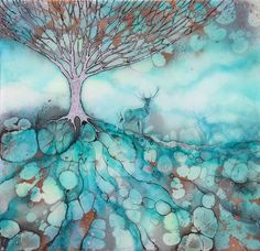 """The Meeting Point """"Original painting in mixed media by Kerry Darlington"""" Alcohol Ink Painting, Alcohol Ink Art, Kerry Darlington, Point Paint, Dark Tree, Art Of Living, Whimsical Art, Tree Art, Art And Architecture"""