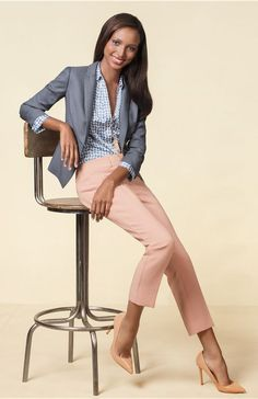 Like the look. Blazer is great color and length. Pant color isn't for me.