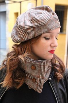 b7e647292d65 Tartan beret. Brown fabric hat. Slouchy french beret. Womens fabric hat.  Unique hat. Chequered fabric hat. Wool tartan hat. Scottish hat