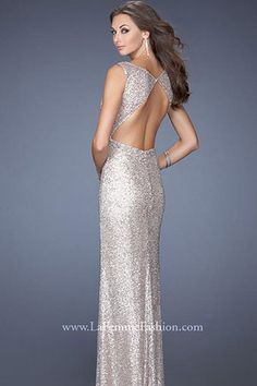 La Femme 19747 (Color: Nude Size: 8) | $550.00 | Champagne bubble and sequins all the way