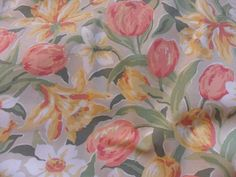 HUGE Vintage Laura Ashley Curtains Fabric Tulip Design Excell Unused Condition !