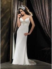 Ruched Bodice V-Neckline Column Wedding Dress