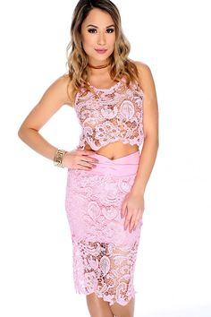 Rock this two piece dress for a girls night out or any special occasion! Features floral embroider lace crochet, round neckline, cropped, sleeveless, high waist maxi skirt, back zipper closure, back slit, followed by a fitted wear. 85% Polyester 15% Spandex
