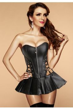 94192c041b Faux leather Black Corset Dress with front zipper closure, side lace-up  accents, lace-up back. Corset Dress, Corset Tops, Plus size corsets and  Underbust ...