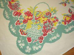 Vintage Tablecloth Jadite Green Fruit Baskets & Bows