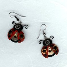 Steampunk Ladybug Earrings Polymer Clay Jewelry.