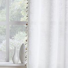 Linen Cotton Wood Bead Trim Curtains (Set of 2)   west elm