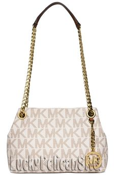 fb904c52fa8d Michael Kors Jet Set Chain MK Signature Med Messenger Crossbody Bag Vanilla  NWT  MichaelKors