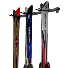 3 Skis Storage Rack by Monkey Bars by Monkey Bars Storage. $59.99. Includes: 2 Small Brackets, 4 Screws Washers, 1 bar, 3-6 Narrow Hooks.. Installs in 15 min.. Hooks slide on bar for easy adjustability. Holds up to Ski/Poles. The most versatile Ski rack on the market. Monkey Bars have developed a 15 minute installation Ski rack that will securely store 3 Skis off the garage floor. Only 4 screws into 2 studs 36 apart and youre finished. No longer do you have to s...