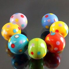Pikalda :Handmade lampwork glass 7 beads colorful 'Candy Dot' SRA make to order on Etsy, $25.00