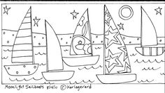 Moonlight Sailboats by Karla Gerard