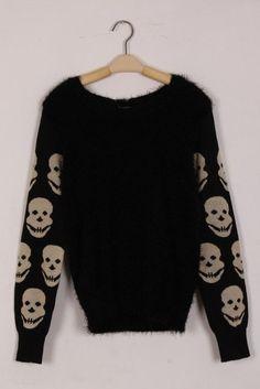 Black Contrast Long Sleeve Skull Print Sweater