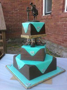 Horseshoe brown & turquoise Paisley Buttercream 60th birthday cake ...