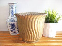 Rustic Brass Flower Pot, Planter, Swirl Pattern, Vintage Farmhouse Decor, Hollywood Regency, Jardiniere