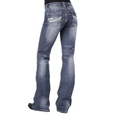 "Style Sits just below waist Medium wash 5 pocket Slim fit thigh Slightly flared leg Blasting and whisker details Decorative white ""S"" rear pocket stitching cotton, cotton Jeans And Boots, Denim Jeans, Cut Jeans, Cowgirl Jeans, Jeans Style, Bell Bottoms, Cute Outfits, Fashion Tips, Fashion Trends"