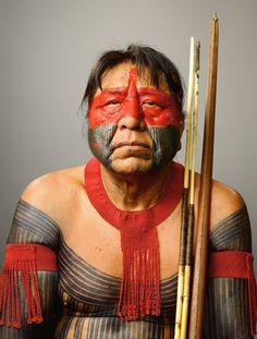 Photograph by Martin Schoeller MEKARON-TI, the great chief, Kayapo, speaks Portuguese and is a powerful advocate for his people.