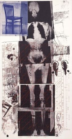 """Robert Rauschenberg: life-size X-rays of the artist's skeleton,"""". From the exhibition:""""Let the World In: Prints by Robert Rauschenberg From the National Gallery in Washington. Collage Kunst, Pop Art Collage, Collage Art Mixed Media, Collage Sculpture, Robert Rauschenberg, Jasper Johns, Andy Warhol, Collages, Modern Art"""