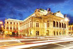Austria Houses Roads Night Street lights Motion Vienna state opera Cities