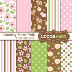COCOA MINT Country farm pink papers