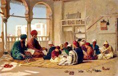 جانب من مدرسه وكٌتاب مسجد السلطان حسن بالقاهره  للفنان الانجليزي فريدريك جودال  Sultan Hassan's #School in #Cairo  by Frederick Goodall - #English - 1822-1904