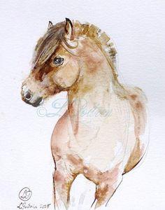 Horse Painting - CHEVAL FJORD - AQUARELLE originale -