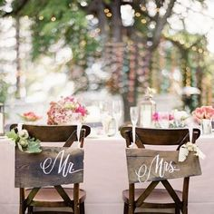 Mr & Mrs wooden signs on wood you? idea, seat, wedding, wooden sign