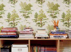 Books loaded shelves and green trees print wallpaper