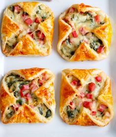 Heavenly Ham Cheese and Spinach Puffs - Recipe, Appetizers, Holidays, Meal Ideas, Pork, Quick, Easy