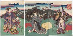 Genji Clouds in the Peaks of Mount Kurama (Genji kumo Kurama-ga-take)  「げんじ雲鞍馬がたけ」 Japanese Edo period 1851 (Kaei 4) Artist Utagawa Kunisada I (Toyokuni III) (Japanese, 1786–1864)