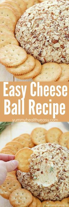 "A super easy cheese ball that's sure to impress any guests! It's creamy, tangy, irresistible and won't take more than a few minutes to whip up! -a cheese ball with ""button"" crackers! Finger Food Appetizers, Appetizers For Party, Appetizer Recipes, Easy Finger Food, Baby Shower Appetizers, Baby Shower Finger Foods, Vegetarian Appetizers, Vegetarian Recipes, Dinner Recipes"