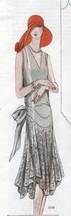 McCall pattern #5369 ~ Elegant drop-waist evening gown, 1928.