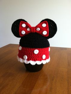 Minnie Mouse girls red crocheted hat by LaNinaBellaBoutique, $15.00