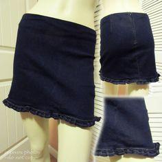 MADE in USA Women DARK NAVY BLUE DENIM MINI SHORT SKIRT SKIRTS Junior Jr Medium #women #junior #skirts #skirt #shopping