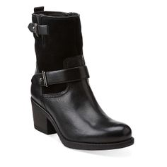 Mojita Sorbet in Black Leather/Black Suede - Womens Boots from Clarks