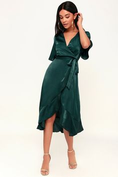 You'll instantly fall in love with the Lulus Wrapped Up In Love Dark Green Satin Faux-Wrap Midi Dress! Satin dress with flutter sleeves and wrap high-low skirt. Green Dresses For Sale, Green Formal Dresses, Trendy Dresses, Elegant Dresses, Casual Dresses, Fashion Dresses, Women's Dresses, Dresses Online, Casual Outfits