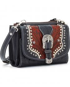 American West Texas Two Step Combination Handbag Navy Blue Leather Buckle Strap Western Purses, Western Belts, Western Wear, Leather Buckle, Leather Purses, Leather Bag, Purses For Sale, Purses And Bags, Women's Bags