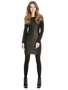 Oasis Long sleeve PU and ponte dress Black - House of Fraser