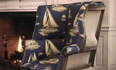 St Leger & Viney Introduces Ralph Lauren Signature to South Africa - SA Decor & Design Ralph Lauren Fabric, Design Department, Blue Rooms, Fabric Wallpaper, Wingback Chair, Soft Furnishings, Interior Decorating, Fabrics, Coastal