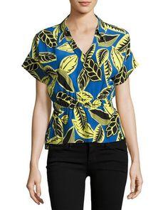 BOUTIQUE MOSCHINO SHORT-SLEEVE PALM-PRINT BLOUSON BLOUSE, BLUE/YELLOW. #boutiquemoschino #cloth #