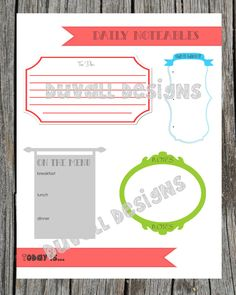 daily noteables. daily agenda sheet. printable. digital copy. to do list. things i'm thankful for. menu list.. $5.00, via Etsy.